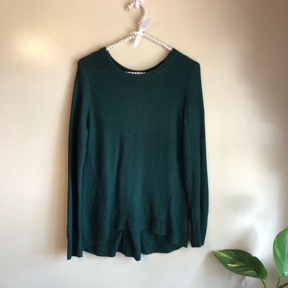 Madewell Sweaters - Madewell | Green Long Sleeve Sweater Zip Accent S